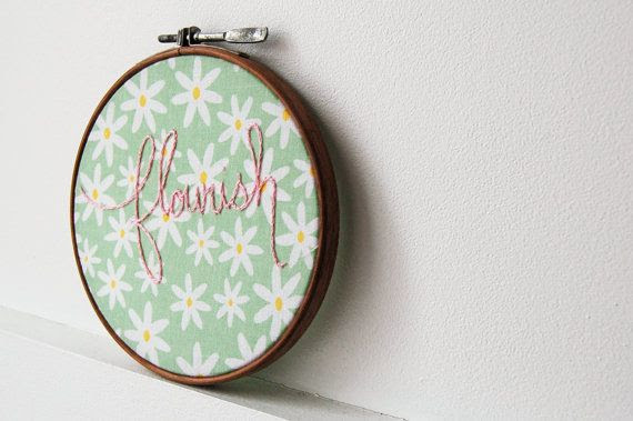 Small Embroidered Text Hoop. Flourish. Spring Daisy Fabric with Pink Stitching. Vintage Hoop. by Merriweather Council