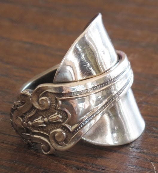 Darling buds of May hallmark silver spoon ring