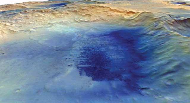El cráter McLaughlin en una perspectiva en tres dimensiones.   HRSC/MarsExpress/Freie Universität Berlin