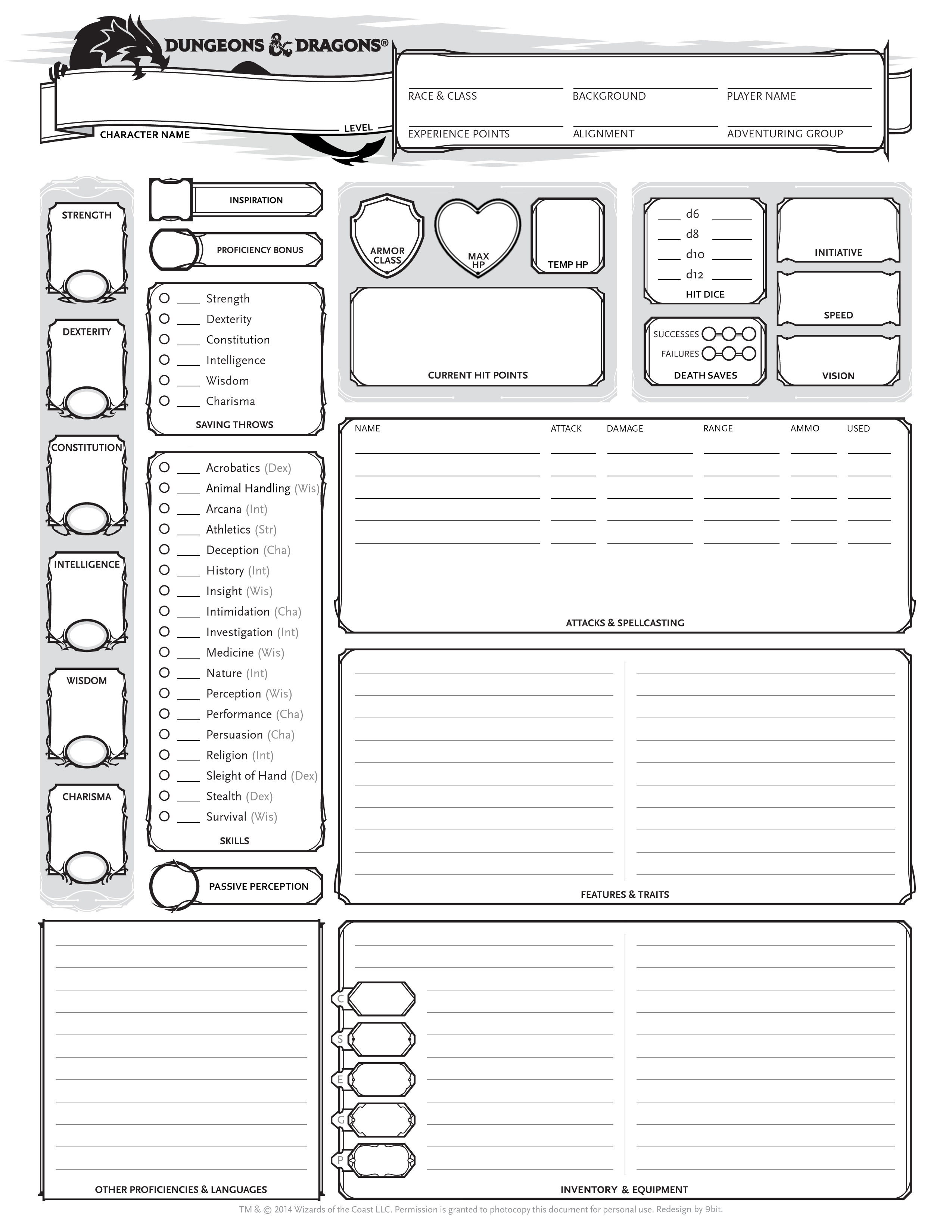 5e) My Edited Character Sheets : DnD