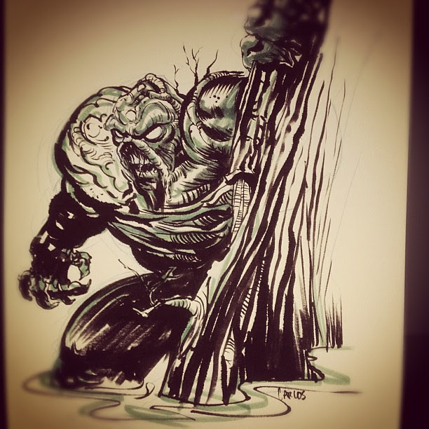 #inktober Day 5, The Swamp Thing is lurking. Super quicky because its Friday!!!