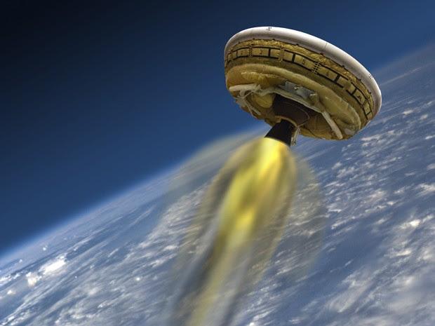 Concepção artística mostra o veículo de teste da Nasa LDSD, criado para testar tecnologias de aterrissagem para missões a Marte  (Foto: Nasa/JPL-Caltech)