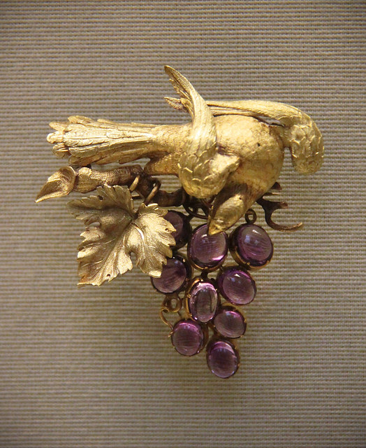 Coloured-gold fruiting vines, English, mid-19c