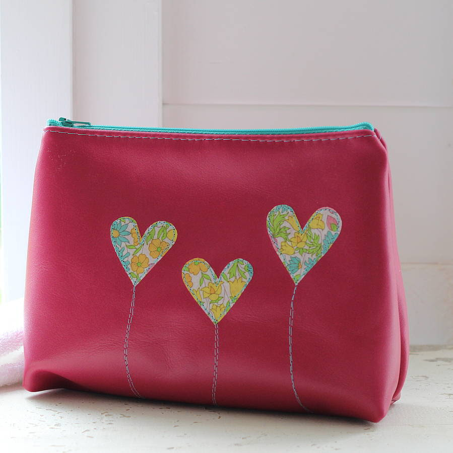 personalised leather heart make up bag by what katie did ...