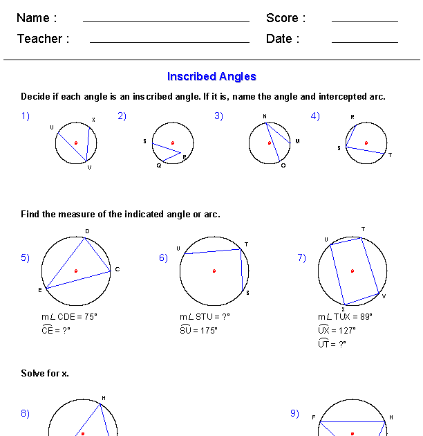 Central And Inscribed Angle Worksheet - worksheet