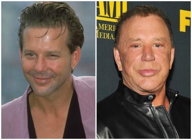 O ator e ex-lutador Mickey Rourke em 1989 e em setembro de 2013. (Foto: Getty Images)