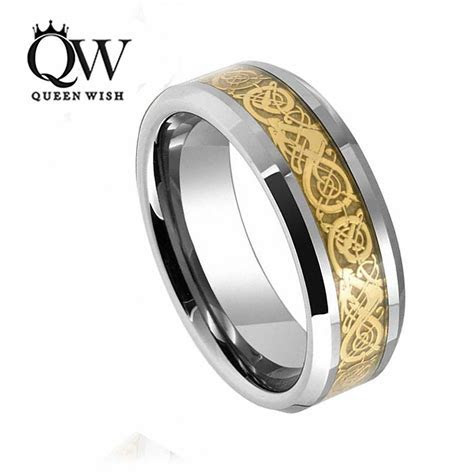 QUEENWISH 8mm Tungsten Carbide Ring Gold Celtic Dragon
