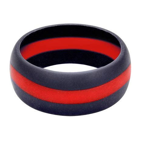 Men's Thin Red Line Firefighter Silicone Wedding Ring
