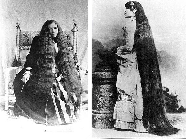 Left: The oldest sister, Sarah, had the shortest hair and became the group's leader. Right: The second-oldest, Victoria, had the longest hair, 7 feet of it, and was known for extravagant taste. (Via Peachridge Glass)