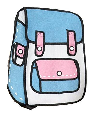 二次元 リュック 2dイラスト バッグ 見た目が不思議な カバン ブルー