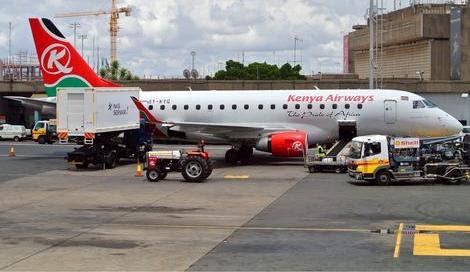 Kenya Airways E190 readying in Nairobi
