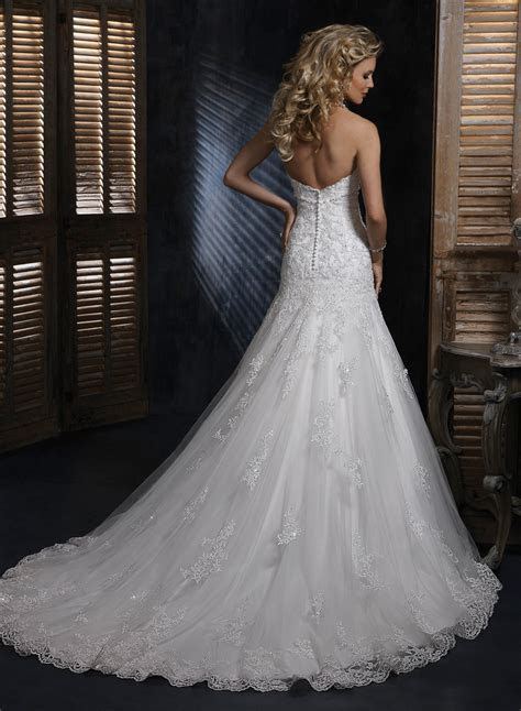 A Line Lace Wedding Dresses   Lace Sweetheart Strapless A