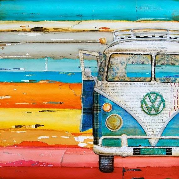 """Vintage Vw Volkswagen Van at Beach - """"Playing Hooky"""" - Fine Art Print - 16x20"""