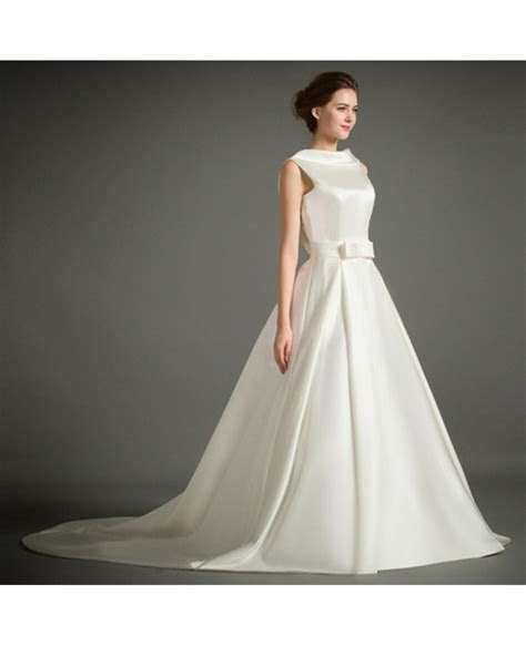 Classic Ball gown High neck Court Train Satin Wedding