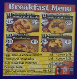 Taco Bell Breakfast Menu