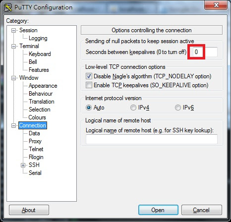 Putty Connection Configuration Window