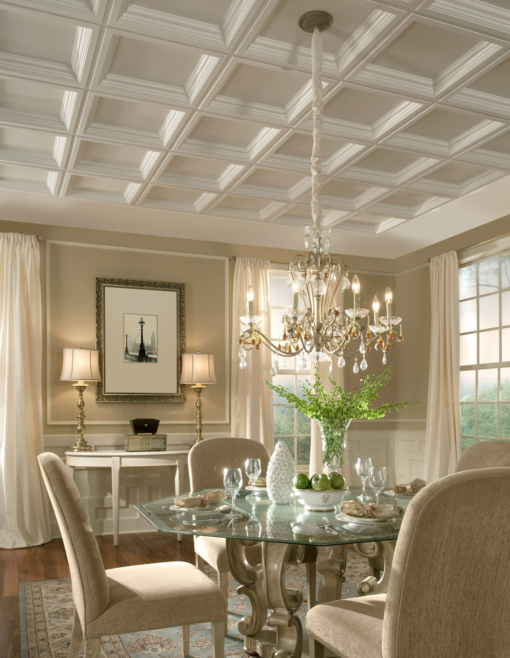 elegant dining room with coffer drop panel ceiling from Amstrong