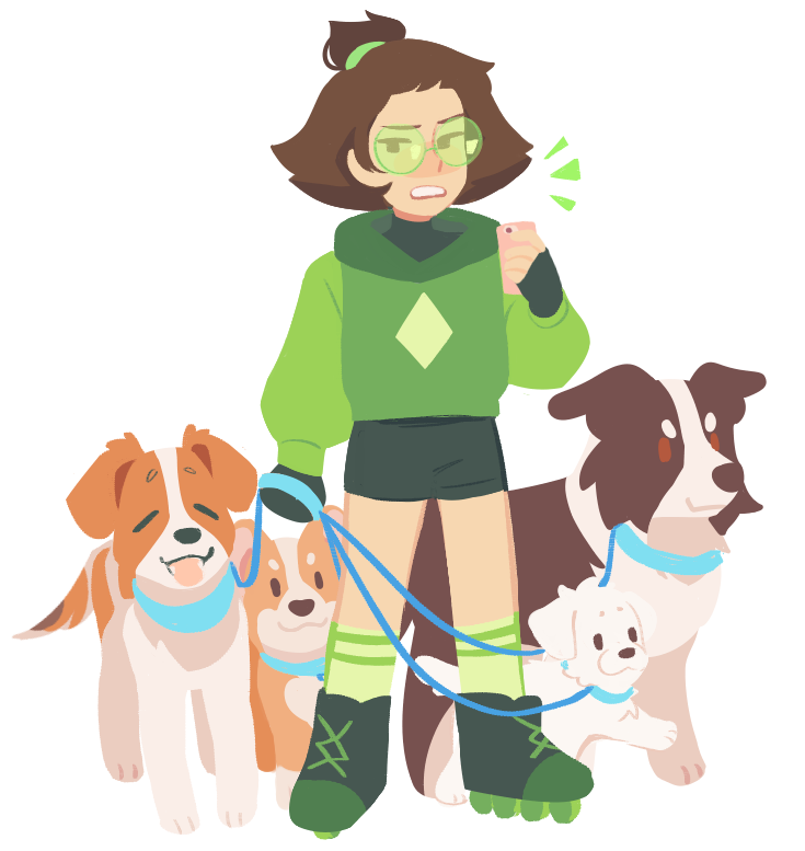 my human peri again!! her limb enhancers r roller skates + gloves and her robonoids are dogs…….