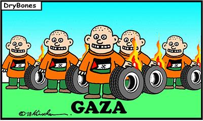 Dry Bones cartoon, Israel, Gaza, Hamas, Demonstrations, Palestinians,Arabs,