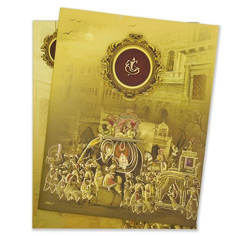 Royal indian wedding card with a wedding procession