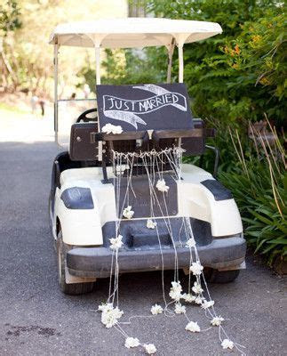Just married sign on back of a golf cart   Weddings