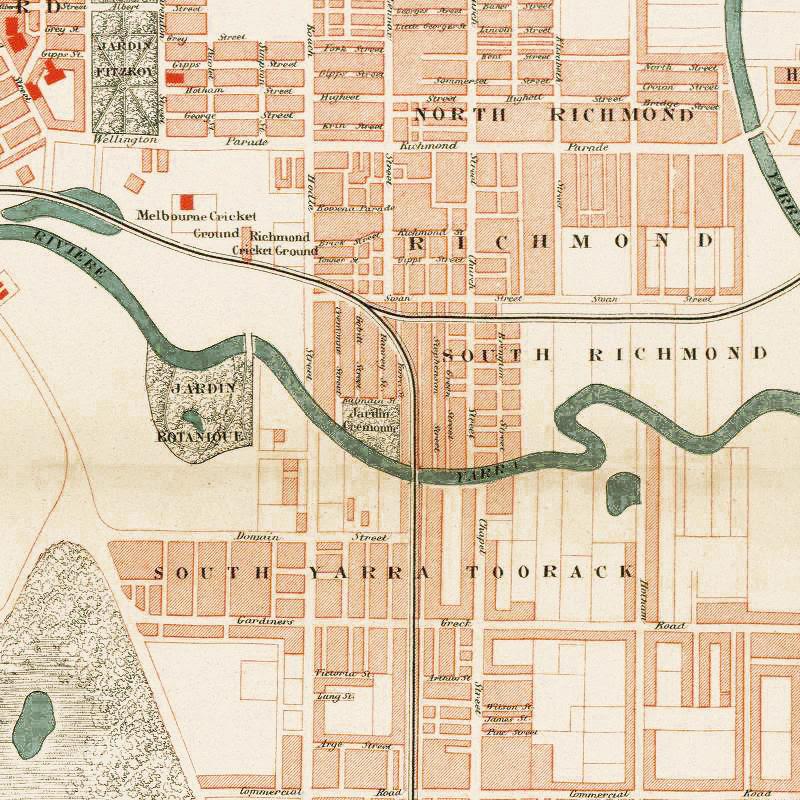 Old Map Of Melbourne Australia 1877 Vintage Map Of Melbourne Vintage Maps And Prints
