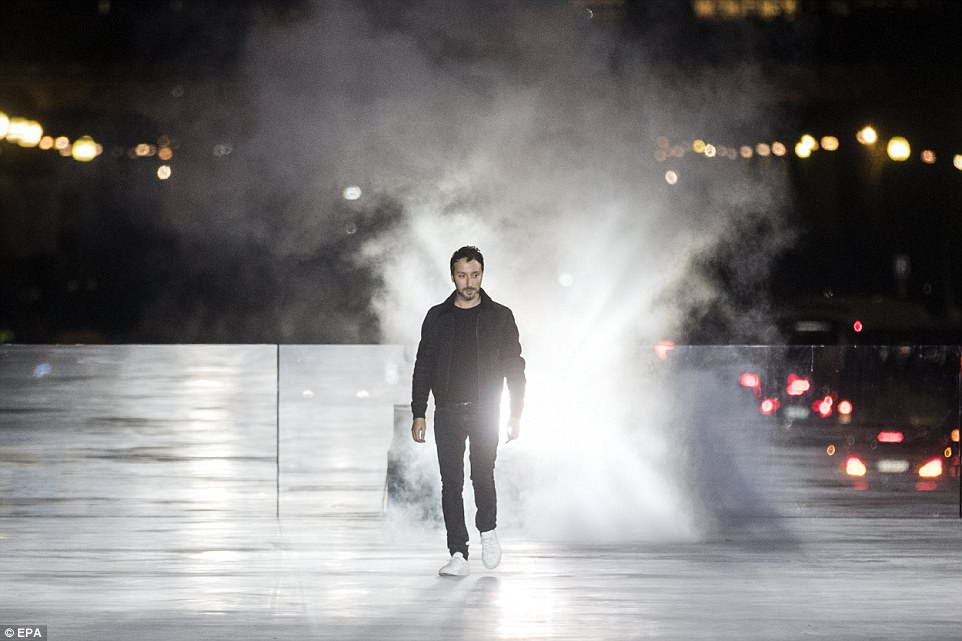 Look at me!Belgian designer Anthony Vaccarello was proudly strutting his stuff after his designs were unveiled