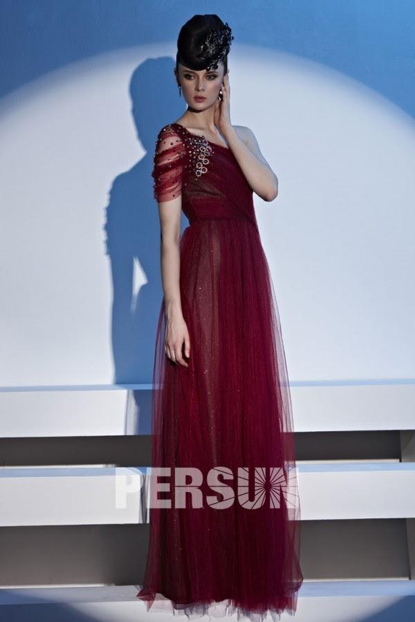 Long dark red evening dress