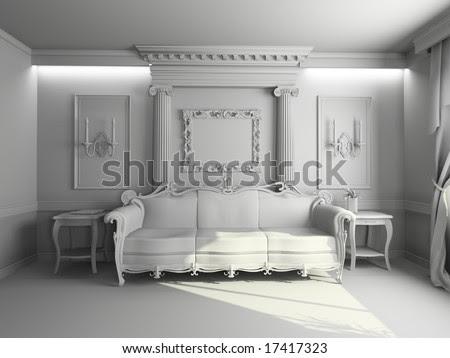 stock photo : blank modern classic interior design (pri