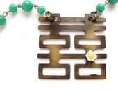 Double Happiness Necklace - Kanji, Chinese character silhouette necklace far east