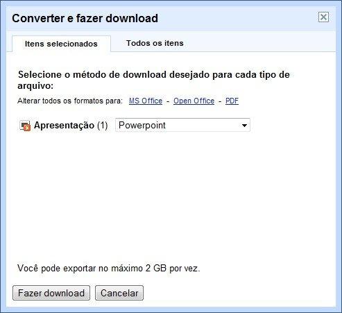 Baixe arquivos do Google Docs em seu PC