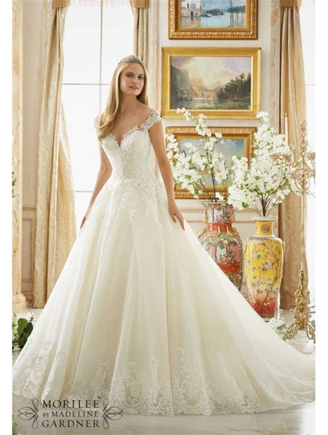 Mori Lee 2889 Off Shoulder Beaded Lace Ball Gown Ivory
