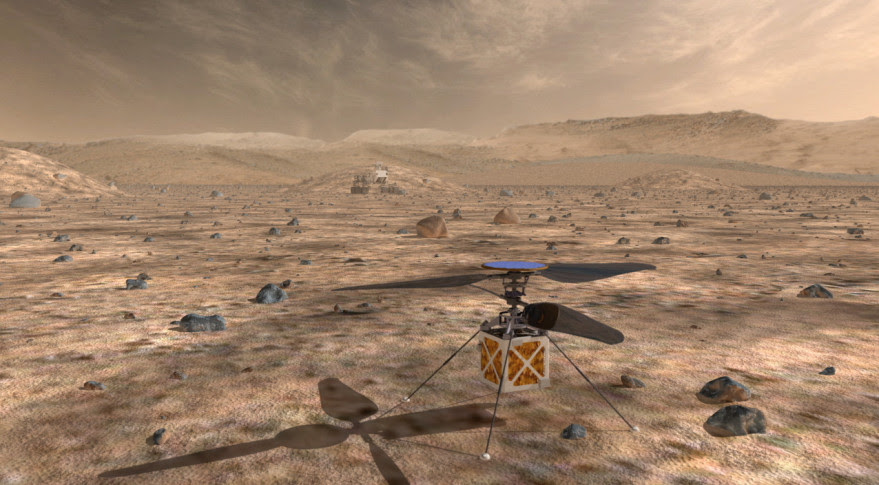 JPL has been touting its Mars Helicopter since January but has not before linked it to any particular mission. The drone would be solar powered and capable of flying for two to three minutes a day, according to a video JPL uploaded to youtube earlier this year. Credit: NASA artist's concept.
