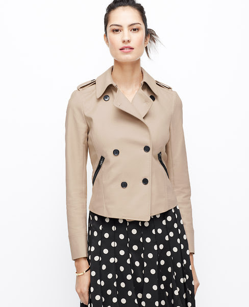 FAUX LEATHER TRIM TRENCH JACKET