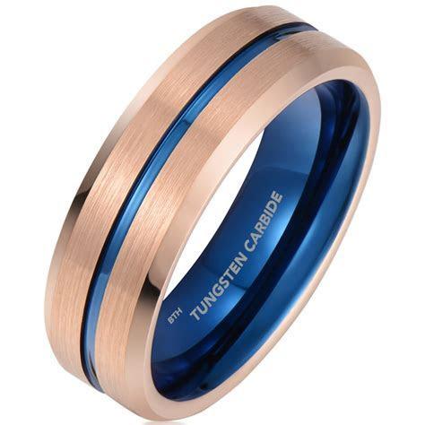 Mens Tungsten Rose Gold Blue Ion Brushed Bevelled Wedding Band