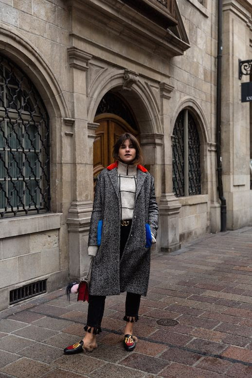 Le Fashion Blog Wool Long Coat Grid Turtleneck Black Tassel Pants Gucci Mules Via The Fashion Fraction
