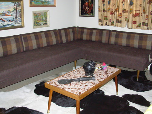 "Guest Bedroom - Big Brown ""Sectional"" & Polished Stone Mosaic Table"