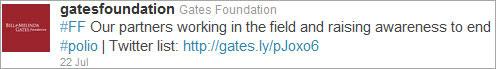 Sample Tweet for Gates Foundation