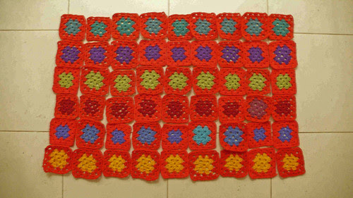 Red Granny Squares completed