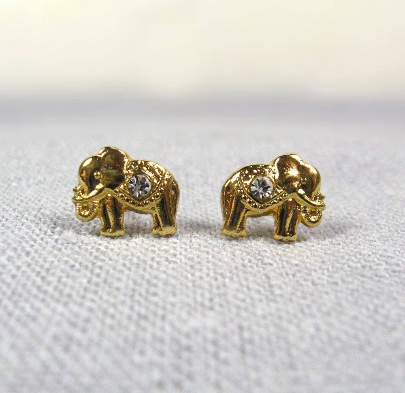 Gold  Earrings Studs, Elephant Earrings - nicearticles, серьги, сережки