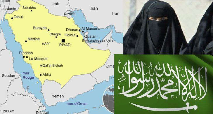 Carte du pays / femme avec son abaya / drapeau national