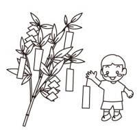 短冊をつける小学生七夕塗り絵バージョン無料こども