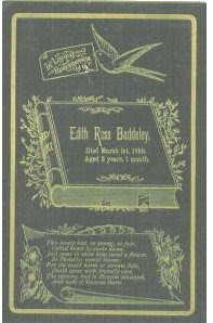 Funeral Card Edith Ross Baddeley 1887 - 1889