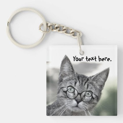 Cute Surprised Cat with Glasses Keychain