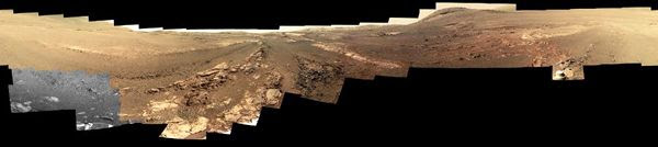 A cropped version of the 360-degree panorama that NASA's Opportunity rover took on the surface of Mars in spring of 2018.