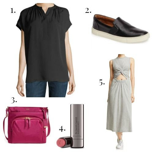 Vince Blouse - Frye Sneakers - Tumi Crossbody - Perricone MD Lipstick - T by Alexander Wang Dress