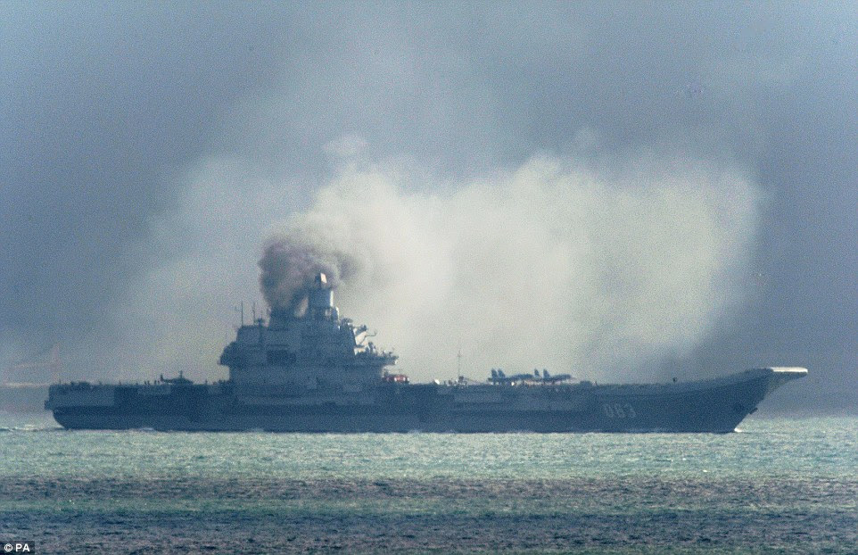The Admiral Kuznetsov pumped out toxic black smoke from its diesel engines as it passed Dover this morning