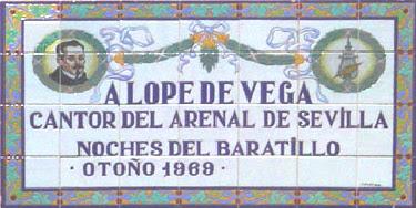 Imagen de Azulejo: Lope de Vega estrena sus comedias en Sevilla