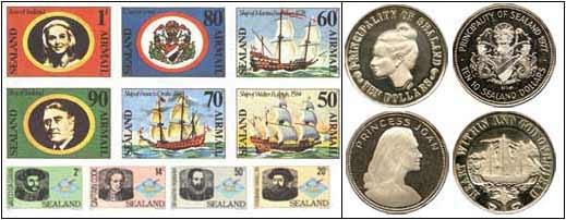 Sellos postales y monedas de Sealand