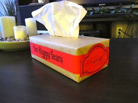 "Decorated tissue boxes ""for happy tears""   Offbeat Bride"